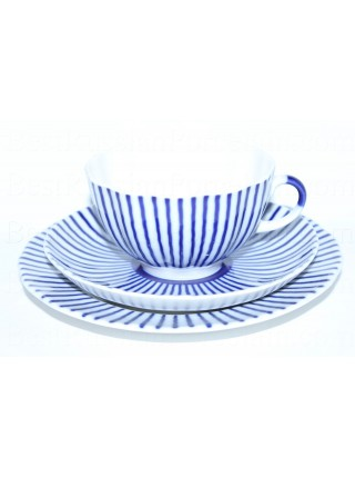 Trio set: tea cup, saucer and dessert plate pic. Frenchman (Ripple), Form Tulip