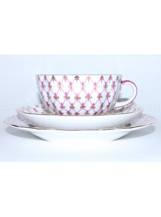 Trio set: tea cup, saucer and dessert plate pic. Net Blues, Form Tulip