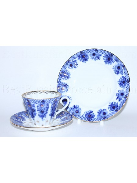 Trio set: tea cup, saucer and dessert plate pic. Little Basket, Form Radiant