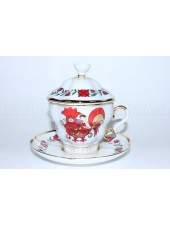 Cup and saucer and Lid pic. Souvenir, Rooster Form Gift-2