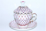 Cup and Saucer and Lid pic. Net Blues, Form Gift-2