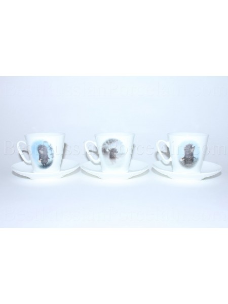 Set of 3 Cups and Saucers pic. Hedgehog in the Fog, Form Black Coffee