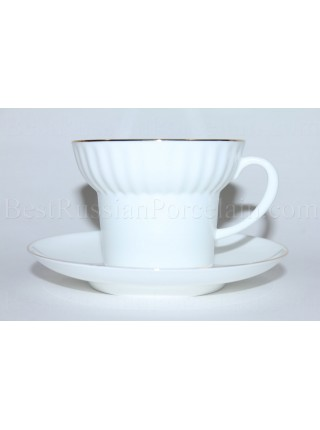 Cup and Saucer pic. Golden Edge Form Wave