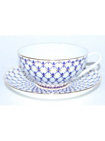 Cup and saucer pic. Cobalt Net, Form Dome