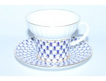 Cup and saucer pic. Cobalt Net, Form Wave