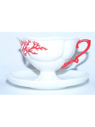 Cup and saucer pic. Coral, Form Natasha