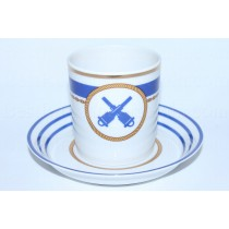 Cup and saucer pic. Wardroom 6, Marine Artillery, Form Heraldic